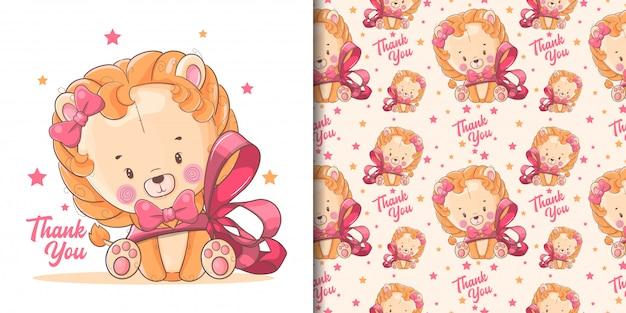 Mão desenhada bebê fofo leão com fita vermelha e padrão Vetor Premium