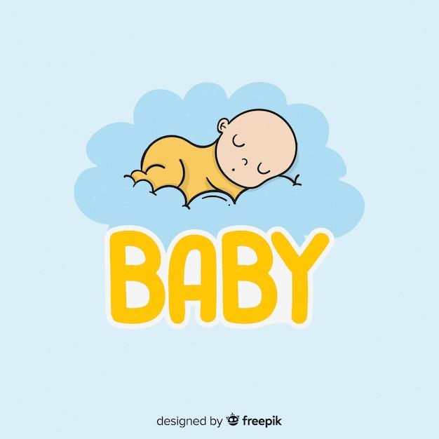 Mão desenhada bebê logo Vetor grátis