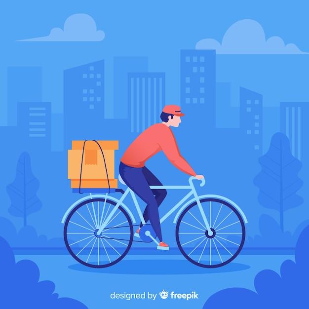 Mão desenhada bicicleta entrega conceito ilustração Vetor grátis