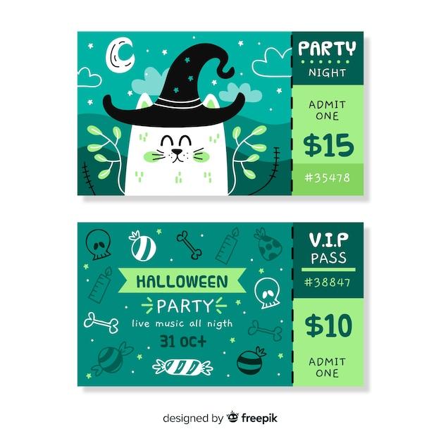 Mão desenhada bilhetes de halloween com gato usando um chapéu Vetor grátis