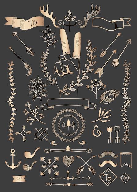 Mão desenhada boho doodle elemento coleção de vetores Vetor grátis