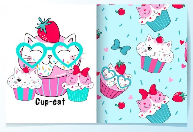 Mão desenhada bonito cup cakes padrão conjunto Vetor Premium