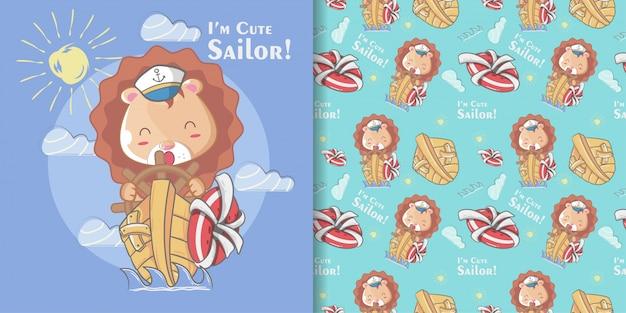 Mão desenhada bonito marinheiro leão sem costura padrão e cartão de ilustração Vetor Premium