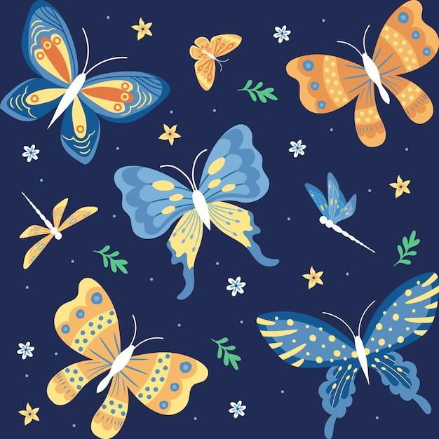 Mão desenhada borboletas, insetos, flores e plantas coleção isolada no fundo da marinha Vetor Premium