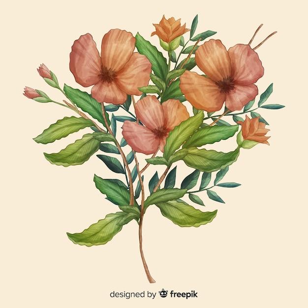 Mão desenhada bouquet floral realista Vetor grátis
