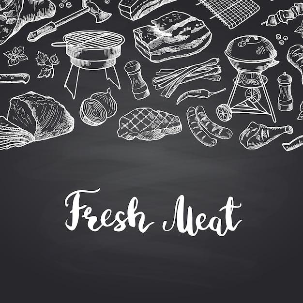 Mão desenhada carne elementos com letras. cardápio de carne de bandeira para restaurante Vetor Premium