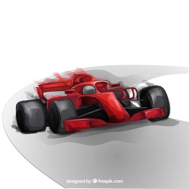 Mão desenhada carro de corrida de fórmula 1 Vetor grátis