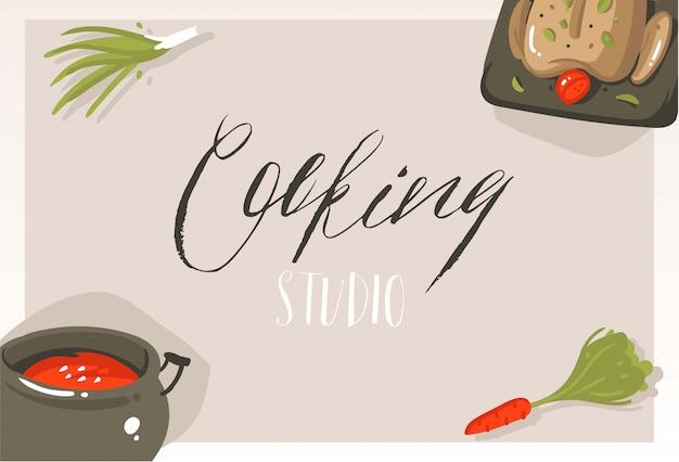 Mão desenhada cartão de cartaz de ilustrações de conceito de aula de culinária moderna abstrata dos desenhos animados com alimentos, legumes e caligrafia manuscrita estúdio de culinária em fundo cinza Vetor Premium