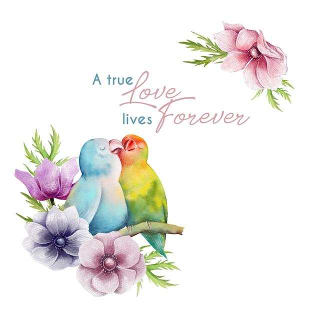 Mão desenhada cartão de dia dos namorados com papagaios no amor Vetor Premium