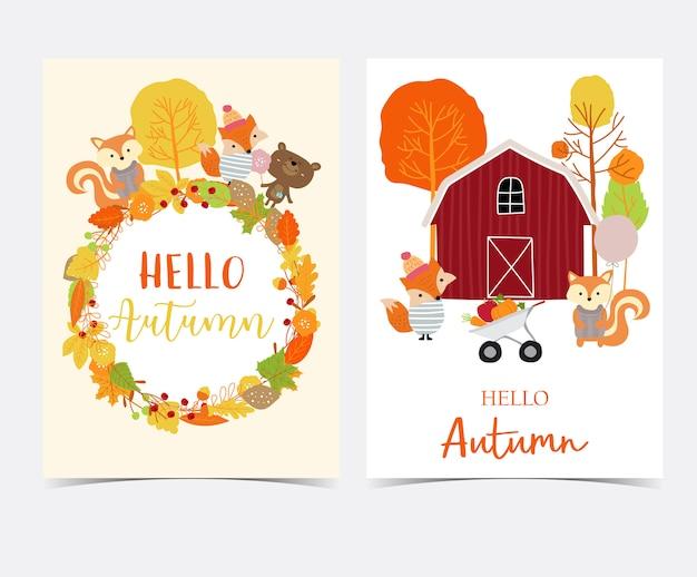 Mão desenhada cartão de outono bonito com flor, folha, raposa, casa vermelha, maçã, abóbora, grinalda e esquilo Vetor Premium