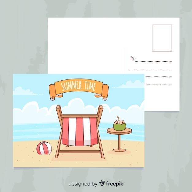 Mão desenhada cartão postal de férias de verão Vetor grátis