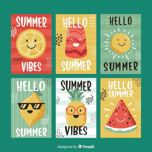 Mão desenhada cartões de verão Vetor grátis
