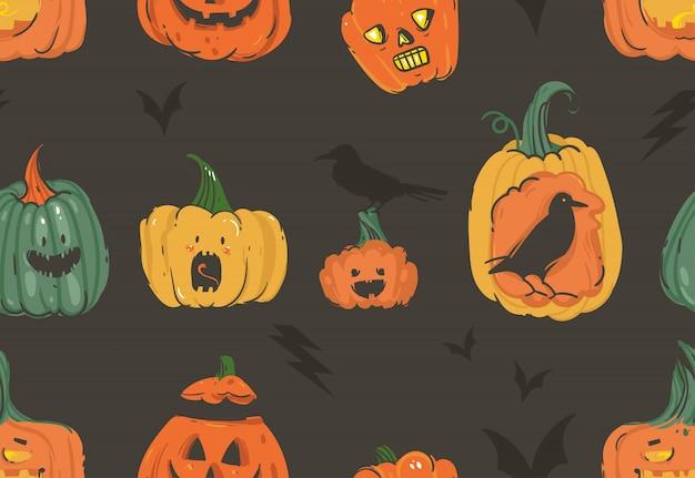Mão desenhada cartoon abstrato ilustrações de feliz dia das bruxas sem costura padrão com abóboras emoji lanternas com chifres monstros, morcegos e corvos no fundo branco Vetor Premium