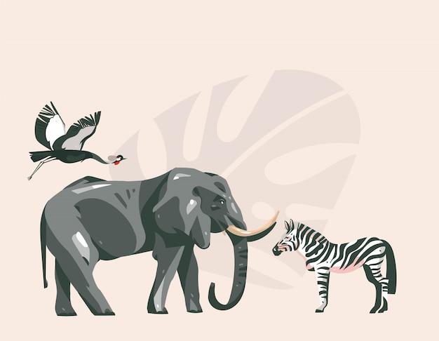 Mão desenhada cartoon abstrato moderno safari africano colagem ilustrações arte com animais de safari em fundo de cor pastel Vetor Premium