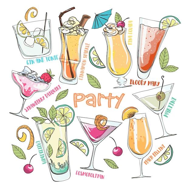 Mão desenhada cartoon ilustração vetorial. festa de verão. coctails e bebidas. Vetor Premium
