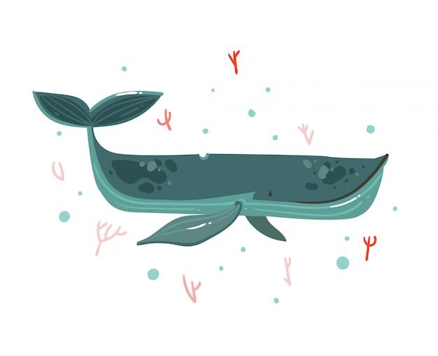 Mão desenhada cartoon verão ilustrações subaquáticas com recifes de coral e personagem de grande baleia de beleza no fundo branco Vetor Premium
