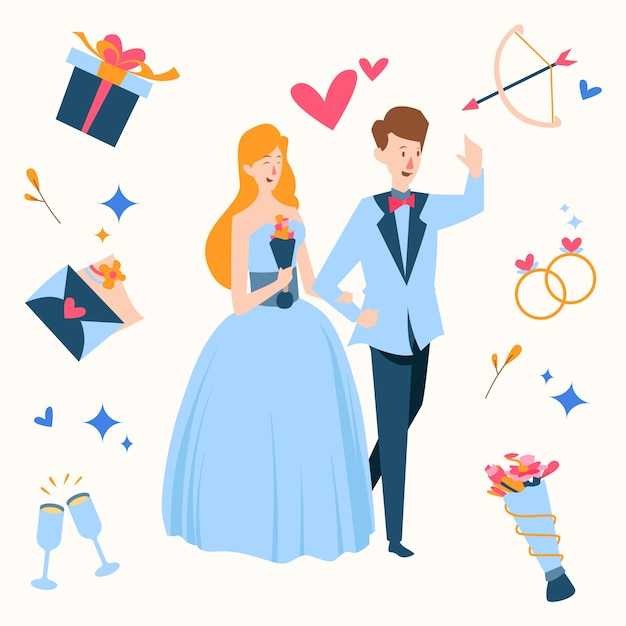 Mão desenhada casal casamento rodeado de presentes Vetor grátis