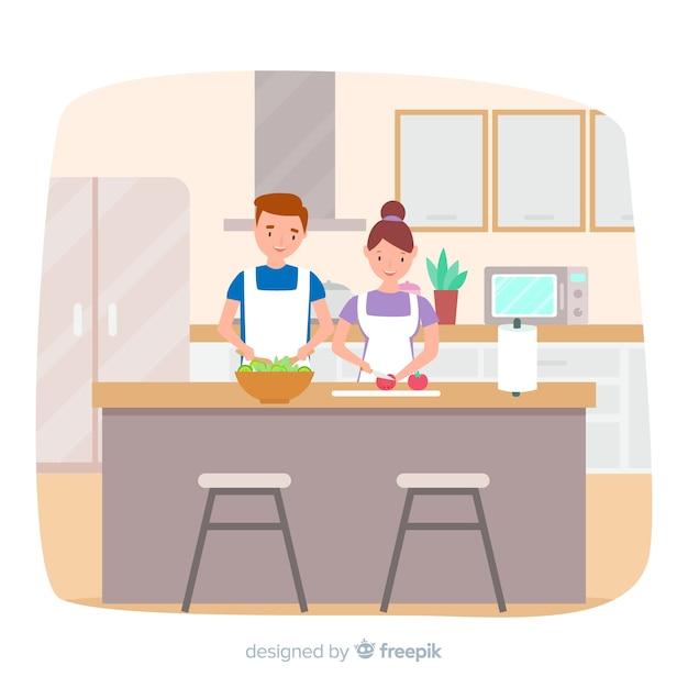 Mão desenhada casal cozinhar plano de fundo Vetor grátis