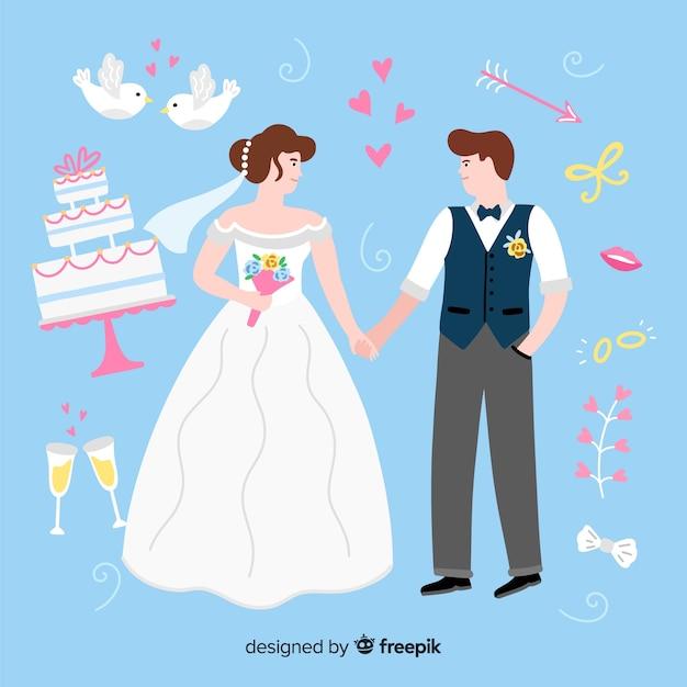 Mão desenhada casal de noivos com ornamentos Vetor grátis