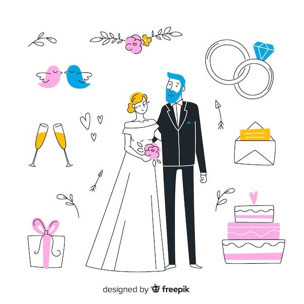 Mão desenhada casal de noivos e elementos Vetor grátis