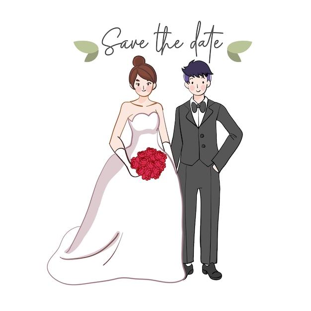 Mão desenhada casal de noivos. noivo e noiva bonito casamento. Vetor Premium