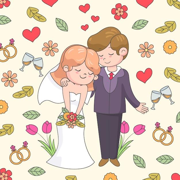Mão desenhada casal de noivos Vetor grátis