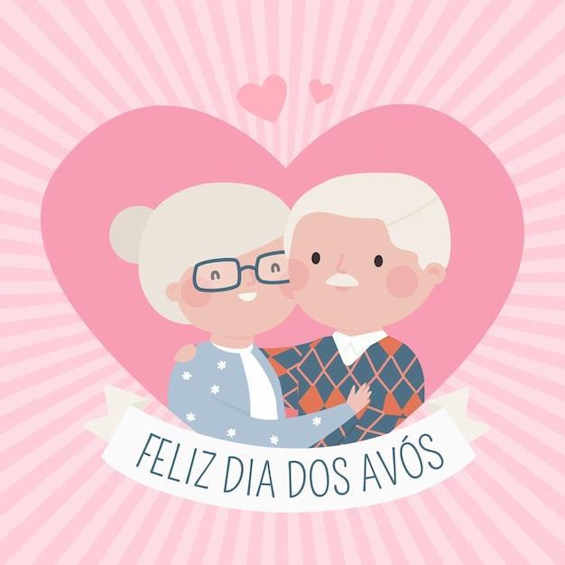 Mão desenhada casal feliz avós Vetor grátis