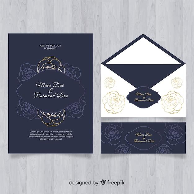 Mão desenhada casamento coleção de modelo de papel de carta Vetor grátis