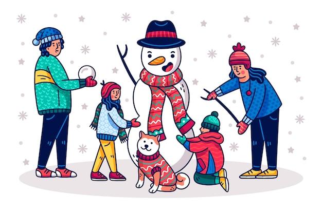 Mão desenhada cena familiar de natal Vetor grátis