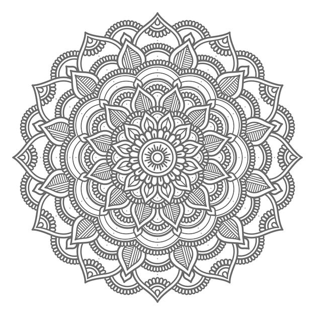 Mão desenhada círculo estilo linha arte mandala ilustração Vetor Premium