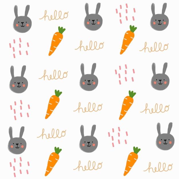 Mão desenhada coelho bonito e padrão de cenoura Vetor Premium