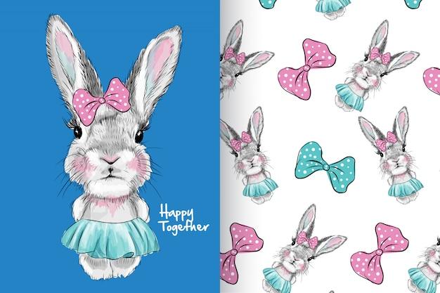 Mão desenhada coelho cute com padrão vector set Vetor Premium