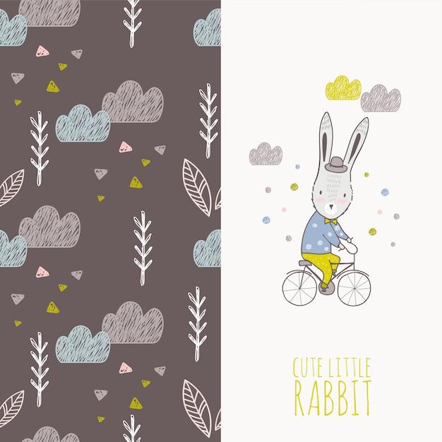 Mão desenhada coelho no cartão de bicicleta e sem costura padrão Vetor Premium
