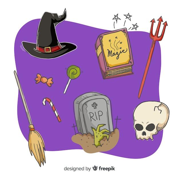 Mão desenhada coleção assustador de halloween Vetor grátis