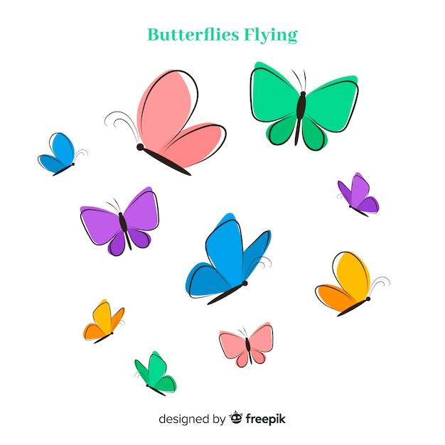 Mão desenhada coleção borboleta Vetor grátis