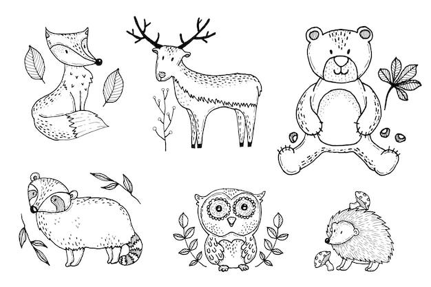 Mão desenhada coleção de animais outono fost Vetor grátis