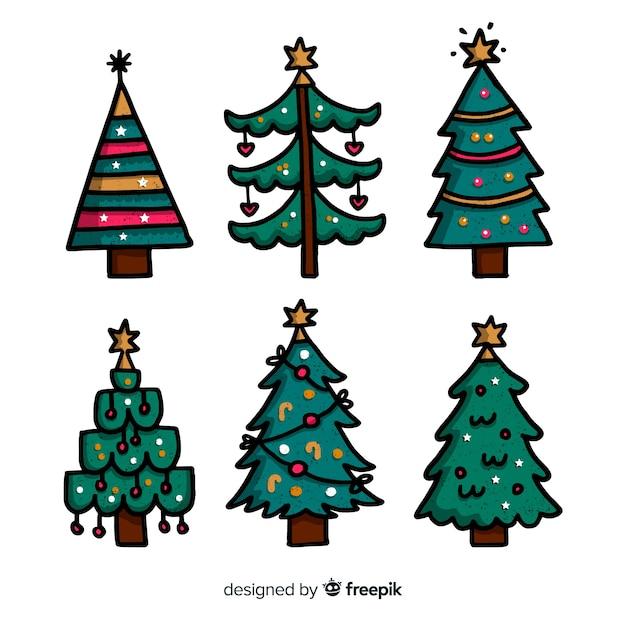 Mão desenhada coleção de árvore de natal em fundo branco Vetor grátis