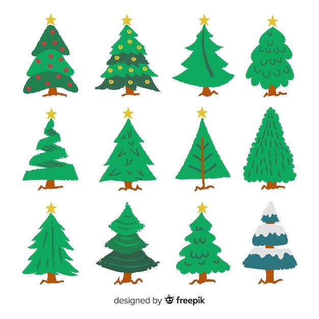 Mão desenhada coleção de árvore de natal Vetor grátis