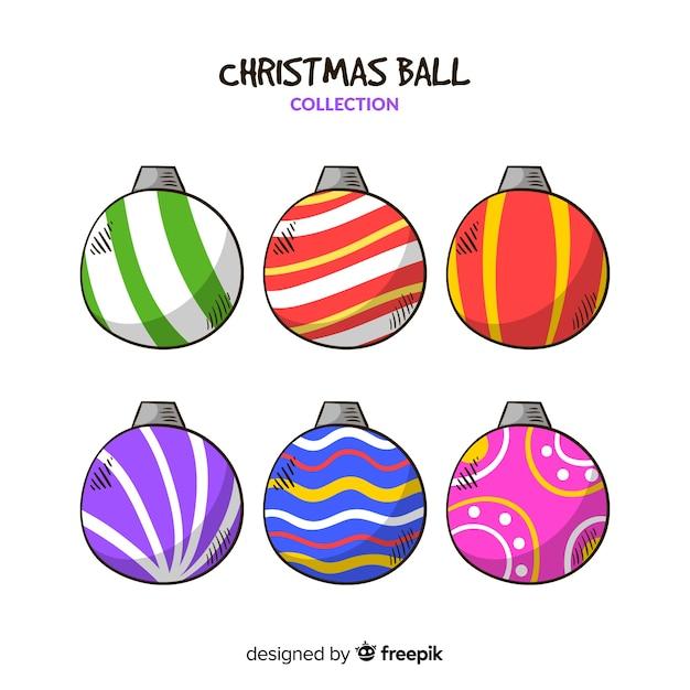 Mão desenhada coleção de bolas de natal Vetor grátis