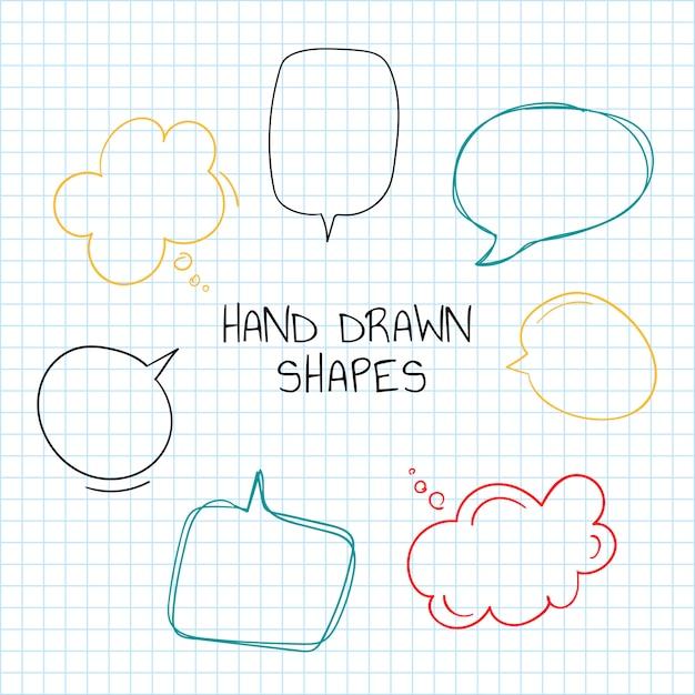 Mão desenhada coleção de bolha do discurso Vetor grátis