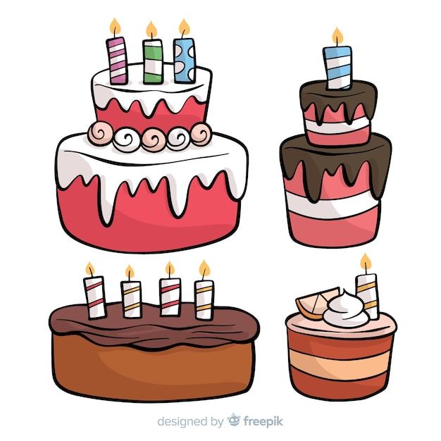 Mão desenhada coleção de bolo de aniversário Vetor grátis