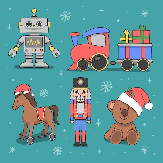 Mão desenhada coleção de brinquedos de natal Vetor grátis
