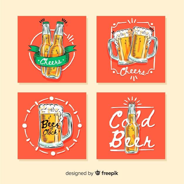 Mão desenhada coleção de cartão de cerveja Vetor grátis