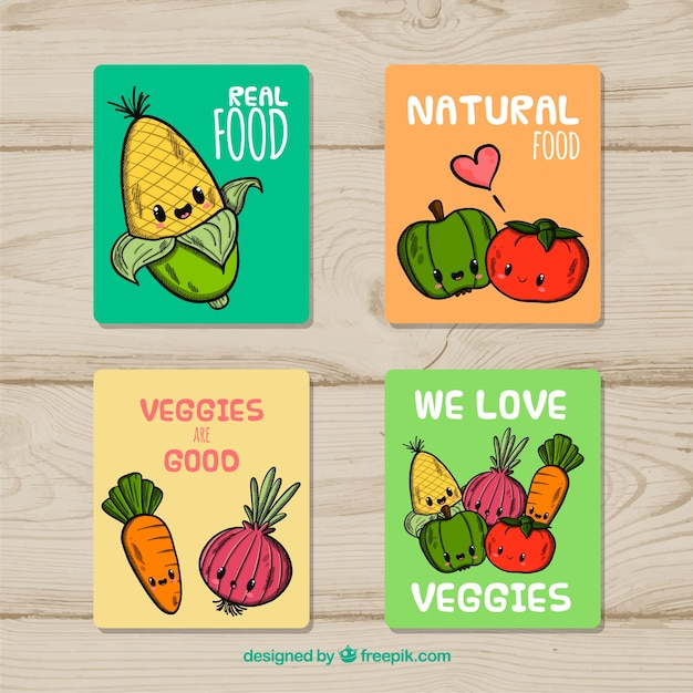 Mão desenhada coleção de cartão de comida Vetor grátis