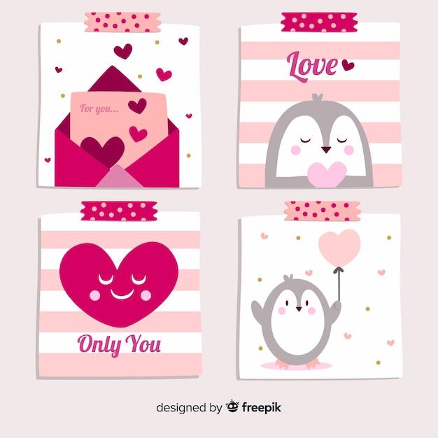 Mão desenhada coleção de cartão de dia dos namorados de pinguim Vetor grátis