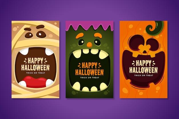 Mão desenhada coleção de cartões de halloween Vetor grátis