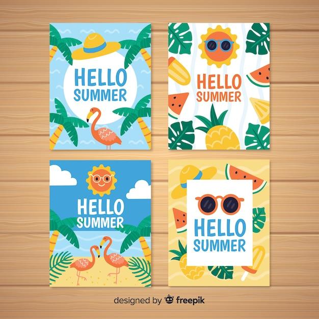 Mão desenhada coleção de cartões de verão Vetor grátis