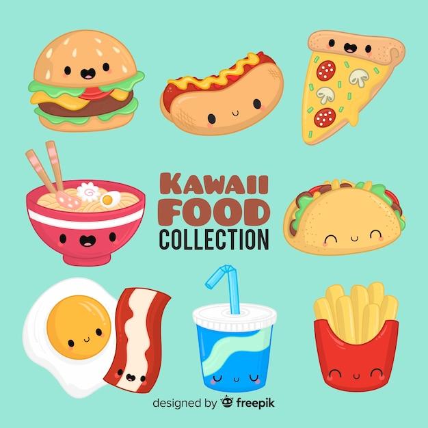 Mão desenhada coleção de comida kawaii Vetor grátis