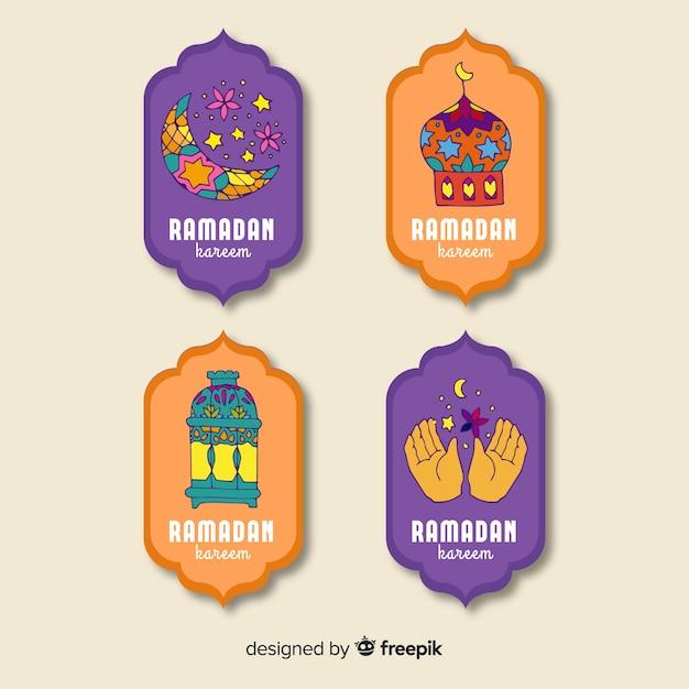 Mão desenhada coleção de distintivo do ramadã Vetor grátis