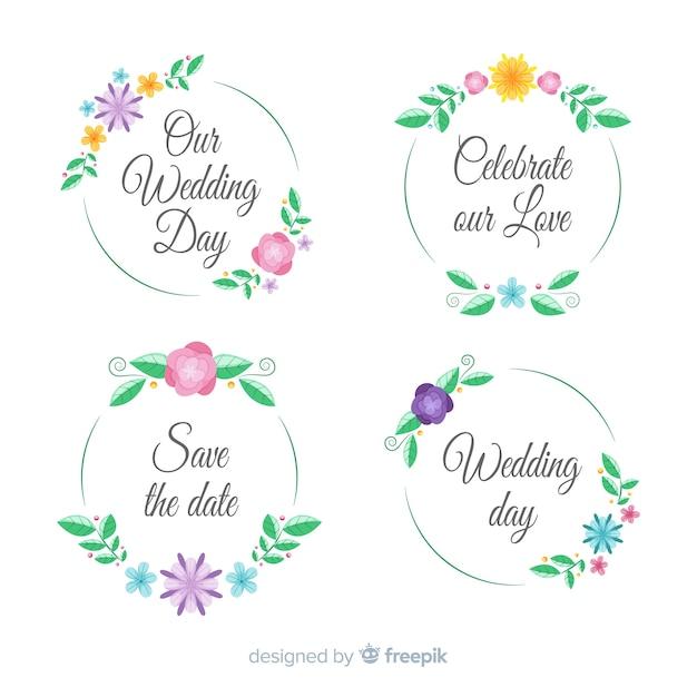 Mão desenhada coleção de distintivos de casamento floral Vetor grátis
